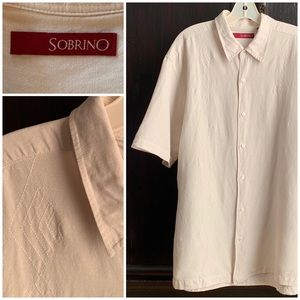 """Sobrino"" Ivory Linen Rayon Camp Shirt XL"